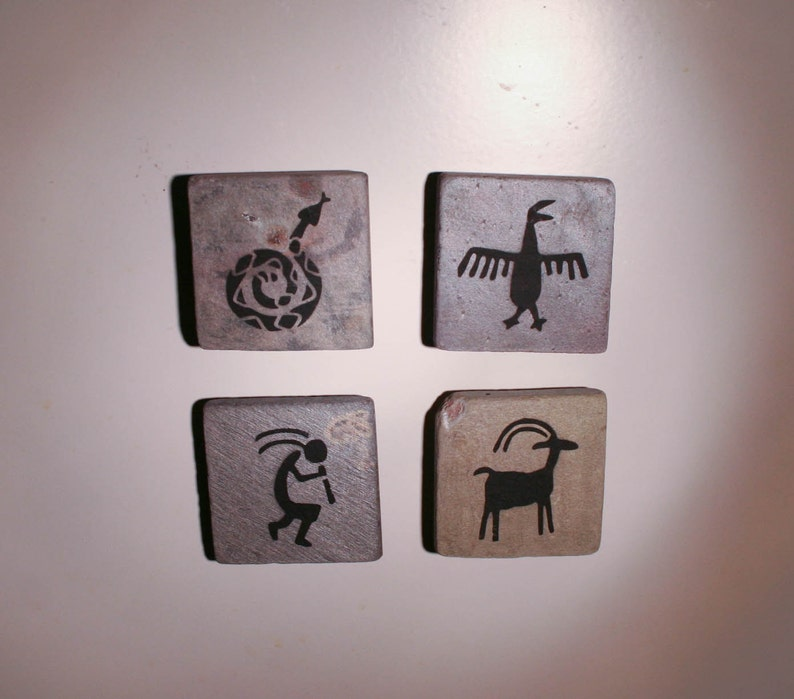 Petroglyph magnets  natural stone with hand painted design  image 0