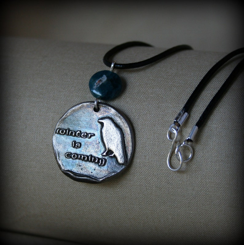 Winter is Coming White Bronze Apatite Necklace image 0