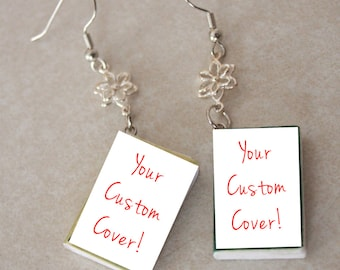Custom Mini Book Earrings