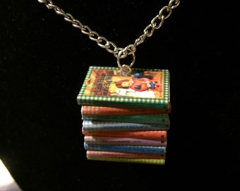 Little House Mini Book Stack Necklace