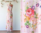 Bold Floral Print Maxi Gown - Vintage 1970 39 s Pink Floral Dress - Colorful Rose Print Sleeveless Dress with Keyhole - Size Small