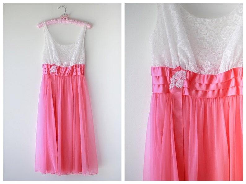 d9f2681b1b5 1950 s Vanity Fair Nightgown Hot Pink and White Vintage