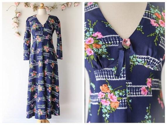 Navy Blue Long Sleeved Floral Dress - Vintage 1970