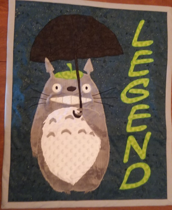 baby quilt blanket Totoro Anime applique handmade gift crib wall hanging personalized