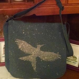Flying Mockingbird Canvas Messenger Bag