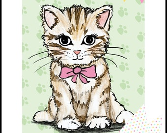 Pin the Tail on the Kitten 24x36: Pin the Hat on the Kitten Digital, INSTANT DOWNLOAD