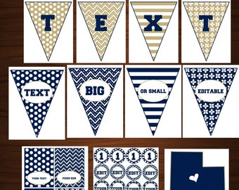 DIY blue, White, Tan Editable party Pack: Banner, Cupcake toppers, Utah sign, Food tent labels