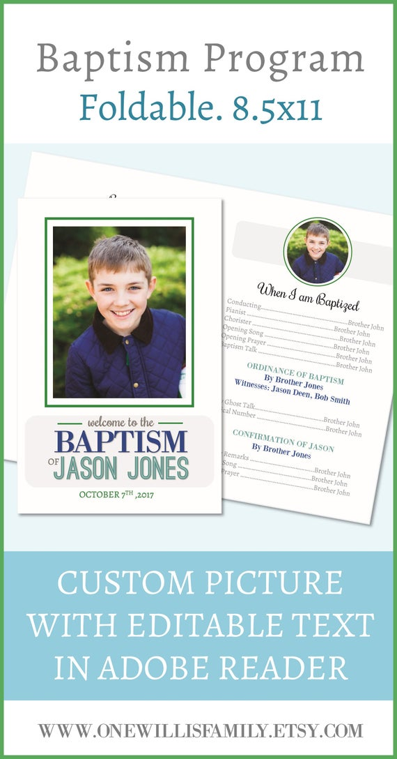 Custom LDS Baptism Program And Text Editable In Adobe Reader