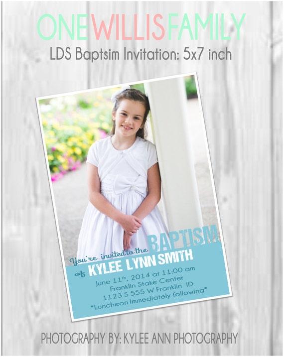 Invitación del bautismo LDS: Moderno medida 5 x 7 niño o | Etsy