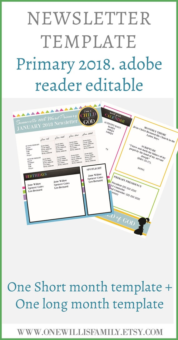 2018 primary newsletter template pdf newsletter template i etsy
