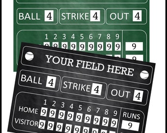 Baseball Birthday Printable Scoreboard 36x24, digital file only, Custom File
