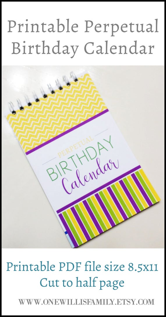Perpetual Birthday Calendar Printable Sized To 8 5x5 5 Half Etsy