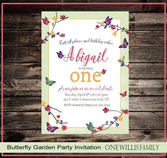 Butterfly Garden Party Birthday Invitation
