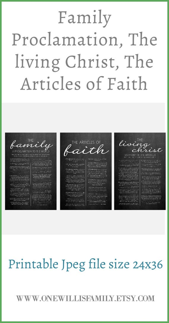 image regarding Lds Articles of Faith Printable referred to as Household Proclamation, Dwelling Christ, Article content of Religion