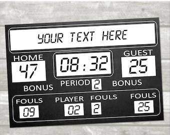 DIY Basketball Birthday Printable Scoreboard 36x24