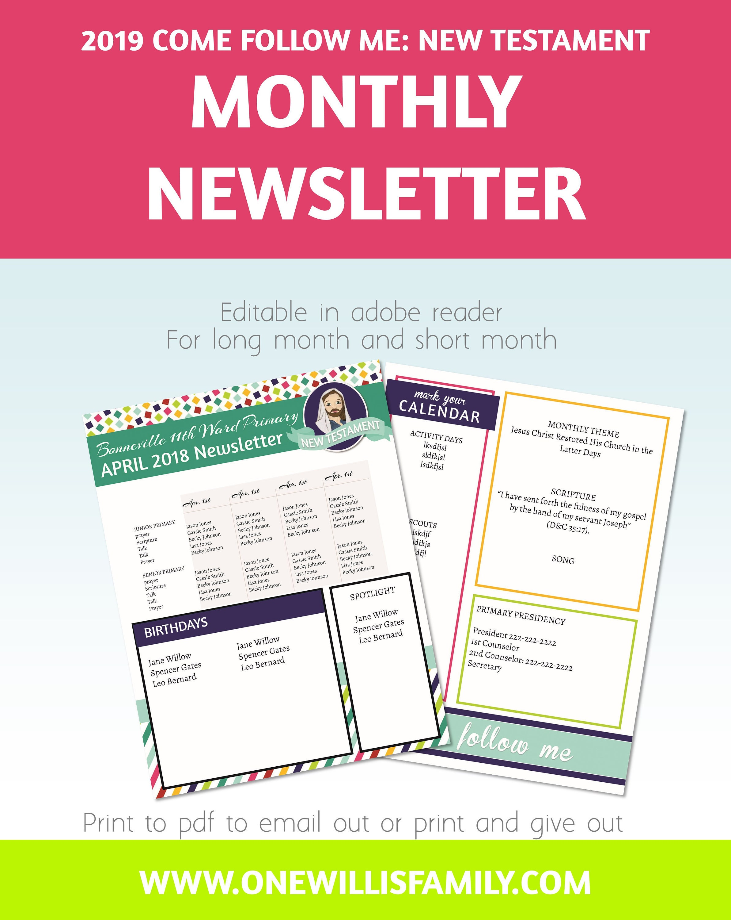 2019 primary newsletter template pdf newsletter template etsy