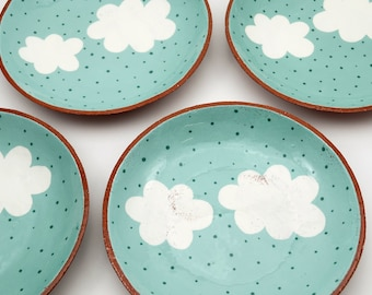 Hand Painted Cloud Ceramic Plate - Pottery Plate - Shallow Bowl - Ceramics and Pottery - Cloud Plate