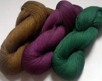 Linen yarn 300gr, 100% pure linen, sewing, weaving yarn, 1ply thin yarn, dark color yarn