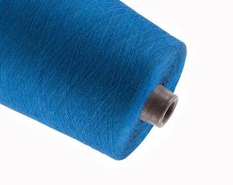 0,5kg linen yarn brilliant blue linen thread flax 1ply 2ply  3ply yarn on tube weaving crochet yarn