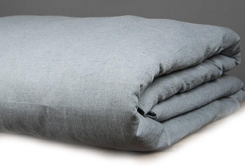 Grau Blau Leinen Bettbezug Leinen Bettwäsche Natürlichen Eco | Etsy