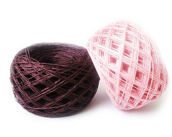 100 grams Linen flax burgundy pink - natural linen thread, linen yarn, 4 ply thick yarn
