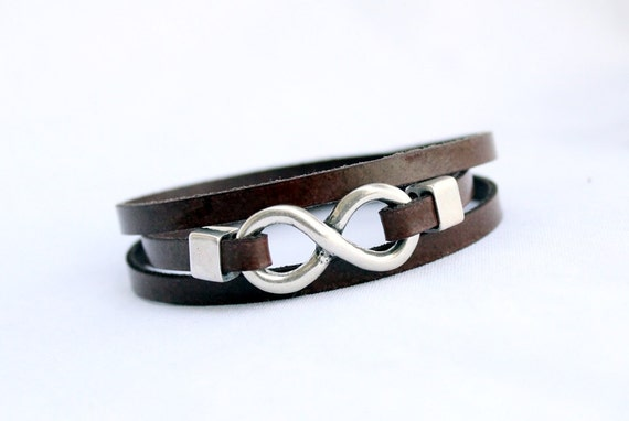 Vegan Infinity Faux Leather Bracelet for women For men Triple Wrap bracelet