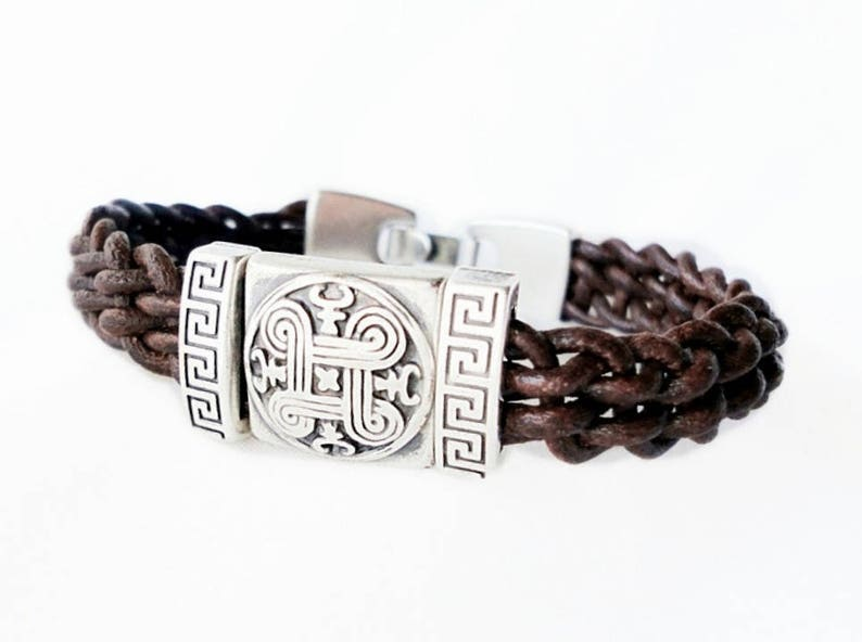 9e0f9132637a4 Men celtic leather bracelet, hand braided leather, silver plated celtic  knot and spiral, Unisex bracelet