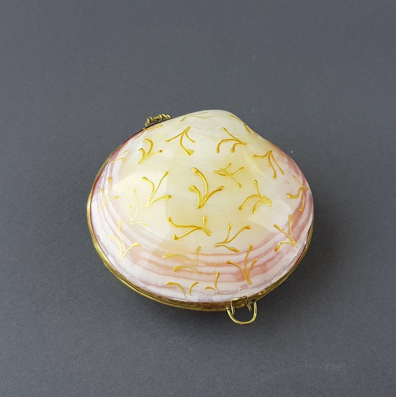 Seashell Ring Box Gold Shell Ring Holder Beach Wedding Jewelry  Personalized Ring Dish Nautical Ring Bearer Engagement Proposal Ring Carrier