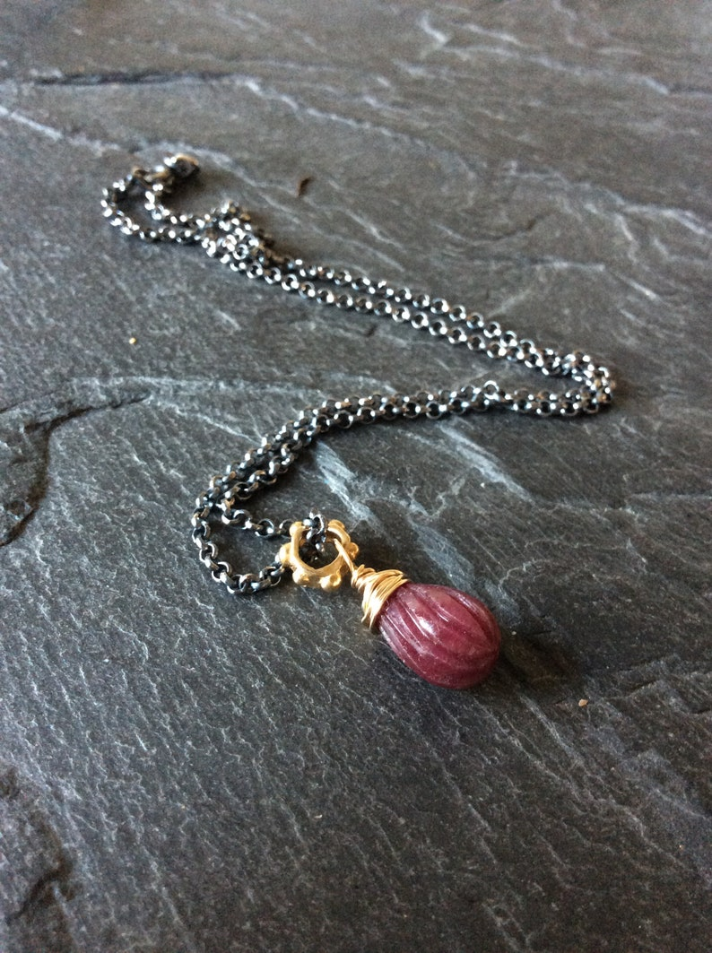 Burmese Ruby necklace - July birthstone necklace, red gemstone jewellery,  mixed metal necklace, gift for her