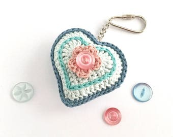 Heart Key Ring Keychain Bag Charm/ Mothers Day Gift for Mom Gift for Woman / Bridesmaid Gift Love Sweetheart Pink Blue Hearts and Flowers