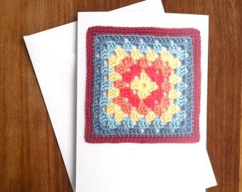 Crochet Greetings Card / Yarny Any Occasion Card for Crocheter Knitter / Recycled Crochet Card for Crochet Fan / Blank Notelet Notecard