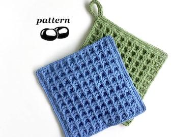 Crochet Dishcloth Pattern / Beginner Crochet Pattern Waffle Dishcloth Thick Kitchen Hotpad Scourer