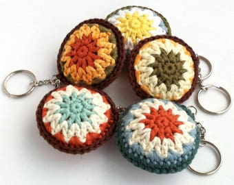 Key Ring Keychain Keyring / Bag Charm / Secret Santa Coworker Gift Small Gift / Bright Fun Round Rainbow Crochet Accessory / Eco-friendly
