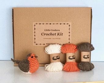 Robin Crochet Kit / DIY Kit Craft Kit Eco-friendly Gift for Crocheter / Make your own Christmas Ornament Kit Robin Crochet Pattern Bird