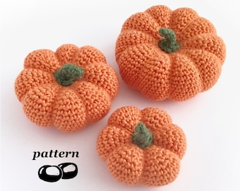 Pumpkin Crochet Pattern / Crochet Pumpkin Pattern in 3 Sizes / Mini Pumpkin Ornament Pumpkin Decoration Halloween Autumn Fall Thanksgiving