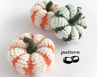 Pumpkin Crochet Pattern / Striped Pumpkin Pattern Sweet Dumpling Squash Pattern / Pumpkin Ornament Halloween Decoration Autumn Thanksgiving