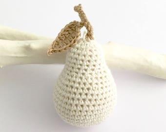 Pear Ornament / Pear Christmas Tree Decoration / White Christmas Decoration Bauble / Autumn Fall Halloween Holidays