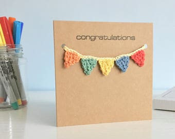 Congratulations Card / Bunting Birthday Card / New Baby Card/ Rainbow Gift / Any Occasion Recycled Card