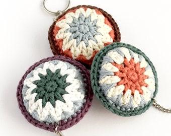 Eco-friendly Keychain Keyring Key Ring Bag Charm / Round Bright Rainbow Accessory / Eco-friendly Secret Santa Coworker Gift Small Gift