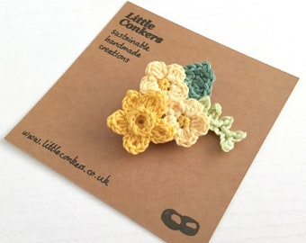 Yellow Floral Brooch / Daffodil Brooch Primroses Bouquet Corsage Buttonhole Spring Wedding / Small Gift for Her