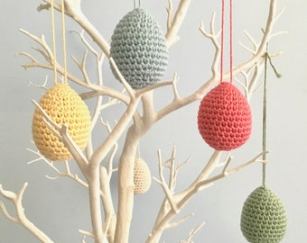 Easter Egg Ornaments / Easter Decorations / Spring Twig Tree Ornaments Hanging Egg Decorations / Pastel Eco-friendly Organic Cotton