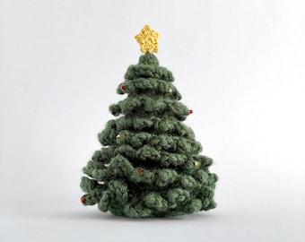 Miniature Christmas Tree Desk Table Decoration Ornament Crocheted Xmas Winter Home Decor Christmas Ornament Dolls' House