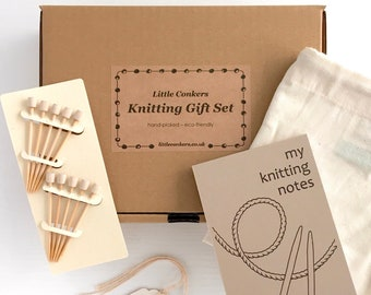 Knitting Gift Set - Gift for Knitter Gifts for Knitters Eco-friendly Craft Knitting Notepad Knitting Project Bag Bamboo Marking Pins