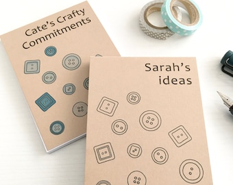 Personalised Recycled Notebook / Personalised Notepad / Mini Recycled Notepad / Buttons Sewing Notepad Craft Best Friend Gift for a Crafter