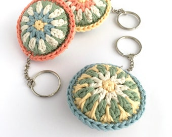 Organic Cotton Crochet Keychain / Bag Charm / Spring Pastel Flower Key Ring Eco-friendly Gift Small Gift for her / Light Soft Keychain