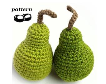 Crochet Pear Pattern / Crochet Fruit Pattern / Crochet Food Pattern / 12 Days of Christmas Ornament / Pear Tree