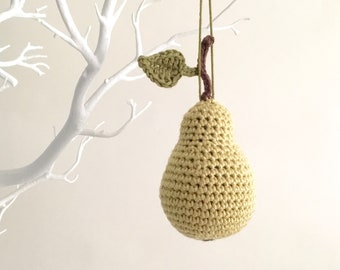 Pear Ornament / Pear Green Chartreuse Home Décor Hanging Accent Christmas Tree Decoration / Autumn Fall Holidays 12 Days of Christmas Decor