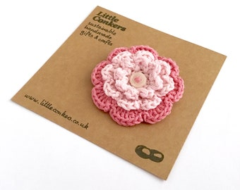 Pink Flower Brooch Eco-friendly Recycled Zero Waste Gift for Her Crocheted Flower Pin Button Brooch Pin / Small Gift for Mom Women