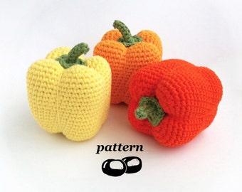 Crochet Pepper Pattern / Crocheted Pepper / Bell Pepper Capsicum / Crochet Vegetable Pattern / Crochet Food Pattern