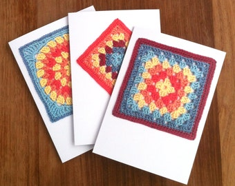 Crochet Greetings Cards - Set of 3 - Crochet Gift for Crocheter Granny Square Crochet Blank Notelets Notecards Recycled